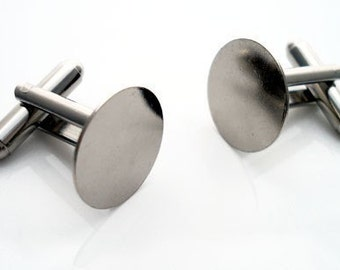 6 Pair (12 pieces) Cufflinks with 15mm Glue Pad Silver Toned