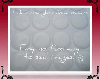 100 - CLEAR 3D Resin Stickers 1 inch Perfect for Bottle Cap Pendants, Necklaces, Magnets, Craft 25mm