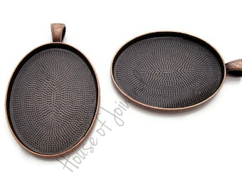 30x40mm Antiqued Copper Oval Cameo Pendant Tray Setting Deep Well - 5 Pieces
