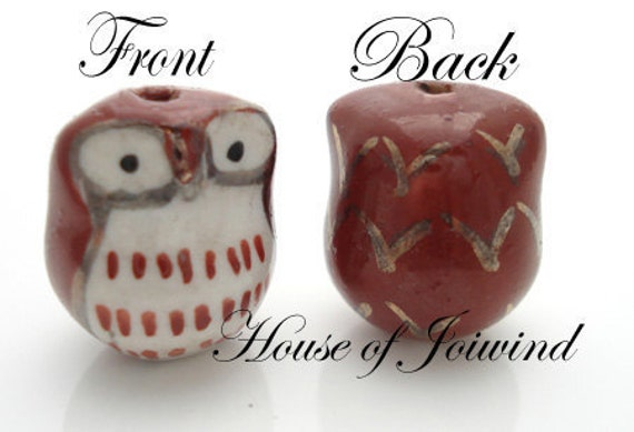 8 Piece Porcelain Brown Owl Beads Brown White 16x14mm