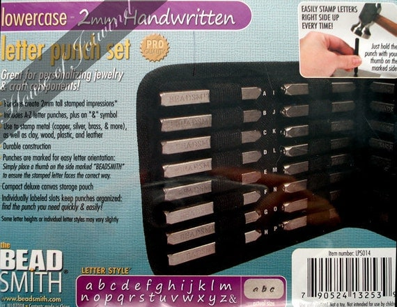Metal Stamp Punch Set LOWERCASE 2mm HANDWRITTEN Font Alphabet 27 Pieces Stamping  Includes Case