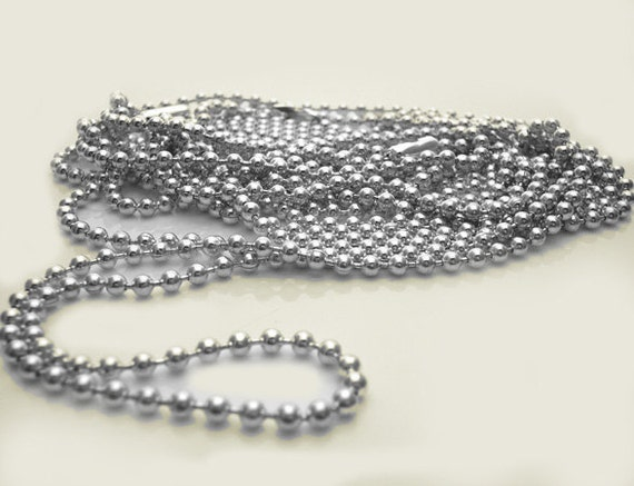 """10 Pieces Shiny SILVER PLATED 24"""" Ball Chain Necklace with Connectors - 2.4mm Bead - Perfect for Scrabble, Glass Tile Pendants"""
