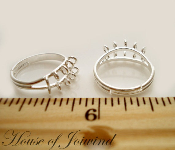 Lot of 4 Silver Plate Ring Base Blanks LOOPS add Beads for cluster rings