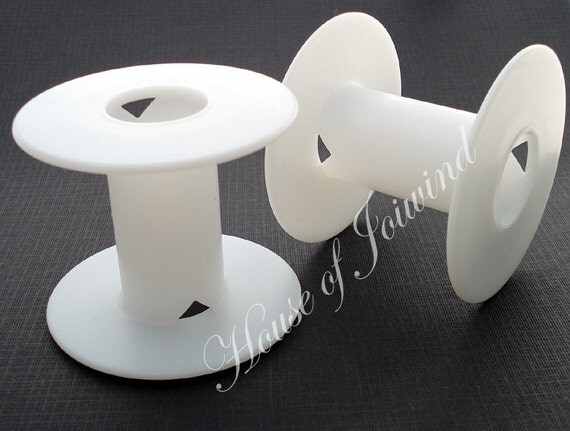 """10 Plain White Plastic Spools to hold Jewelry wire, cord, thread, etc - 2 1/4"""" tall"""
