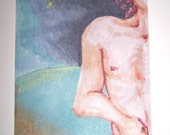 The Observer ACEO Marker Drawing on Watercolor Paper Original