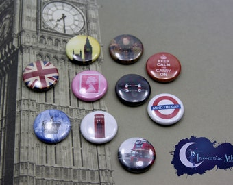 British Mini MAGNET Set of 10 - Union Jack, Keep Calm, Big Ben, Double Decker