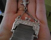 super cute vintage mesh purse brooch fleur de lis