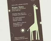 Giraffe Custom Baby Shower Invitation 5x7