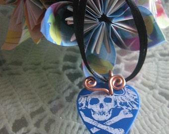 Death in Blue an OOAK guitar pick necklace