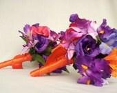 Bridal Bouquet Package Destination wedding Purple Orange tropical Silk Wedding Flowers Boutonnieres, corsages, wedding accessories
