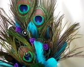 Peacock Wedding Cake Top Turquoise Purple