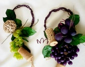 Rustic Vineyard Wedding Centerpieces -Set of 2-Wine Bottle Toppers Grapes corks Made to order table decor Woodland event party  accessories