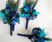 Peacock Bouquet Package Turquoise Blue Purple Eye of the Peacock