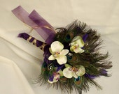 Peacock Wedding Flowers Peacock Feather Bouquet Green Orchids Purple