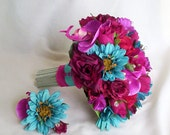 Turquoise Wedding Flower Bouquet package Turquoise Fuschia bridal accessories 11 pieces bridesmaid bokays, Boutonnieres corsages