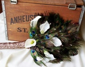 Peacock Weddings Feather Fan Bridal Bouquet Callas Crystals Wedding flowers Accessories Peacock theme Bride Fall