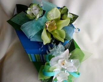 Beach Wedding Flowers Corsages Silk Orchids robin egg Blue Green aqua Bridal accessories parents mothers wrist corsages destination wedding