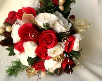 Winter Bridal Bouquet Red Ivory silk wedding flowers pine cone wedding party accessories December bride bokay Artificial evergreen Valentine