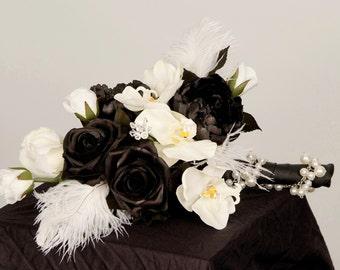 Wedding Flowers Bridal Bouquet Black boutonniere set Ready Ship Couture faux white orchids Feathers Modern accessories destination