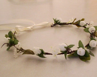 Flower Crown Bridal headpiece ready to ship  Rustic Chic hairpiece Wedding hair flower accessories Ivory hairwreath flower girl halo circlet
