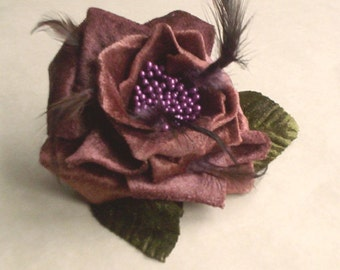 Plum Bridal Hair Comb wedding fascinator purple marsala browns Velvety Flower bridesmaid headpiece hair wreath accessory feathers fall