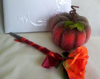 Fall Weddings Guest Book Signing Pen orange Flower Pen summer Autumn Bridal Accessories shower favors gifts wedding reception