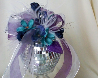 wedding accessories Disco cake topper Unique Birthday Mirror Ball bridal bouquet alternative New Years Eve Purple teal Birthday decoration