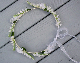 Baby floral headband Lily of the Valley flower crown Bridal hair wreath First Communion flower girl Halo silk wedding flowers accessories