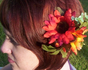 Summer Wedding Hair Comb Sunflower Orange Bridal Brides Maid Rustic Woodland Headpiece bridal party accessories Autumn fall hair flower