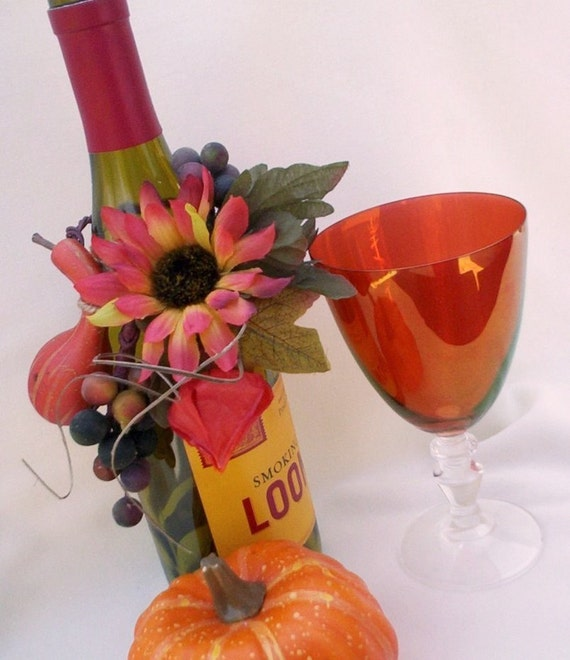 Sunflower bridal centerpieces wine bottle toppers by