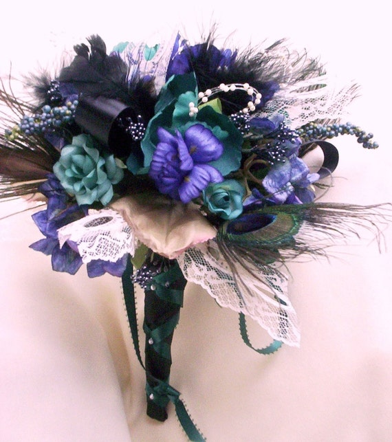 Peacock Wedding Ideas Etsy: Items Similar To Weddings Peacock Feather Bridal Bouquet