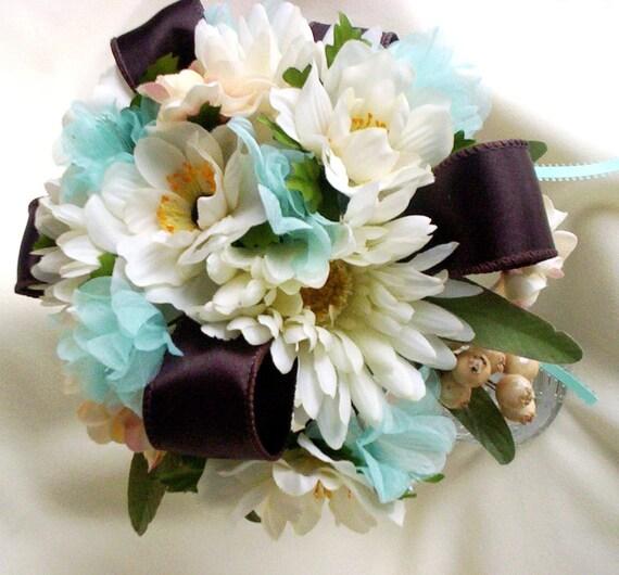 Beach Wedding Flowers: Beach Bridal Bouquet Brown Aqua Wedding Flowers Custom Deposit