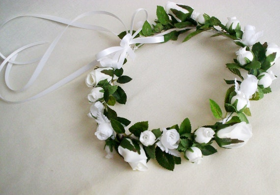 Wedding Hair Flowers Flower Girl Halo Silk Rose Head Crown