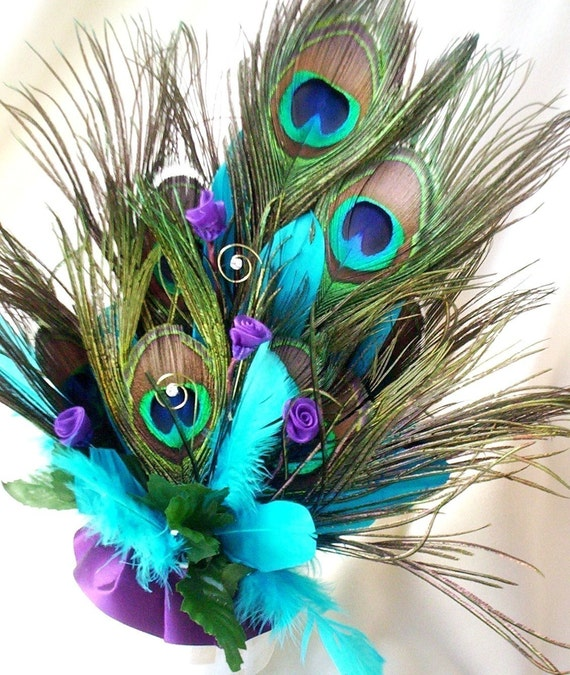 Peacock Feather Wedding Cake: Wedding Cake Topper Peacock Feathers Turquoise Purple