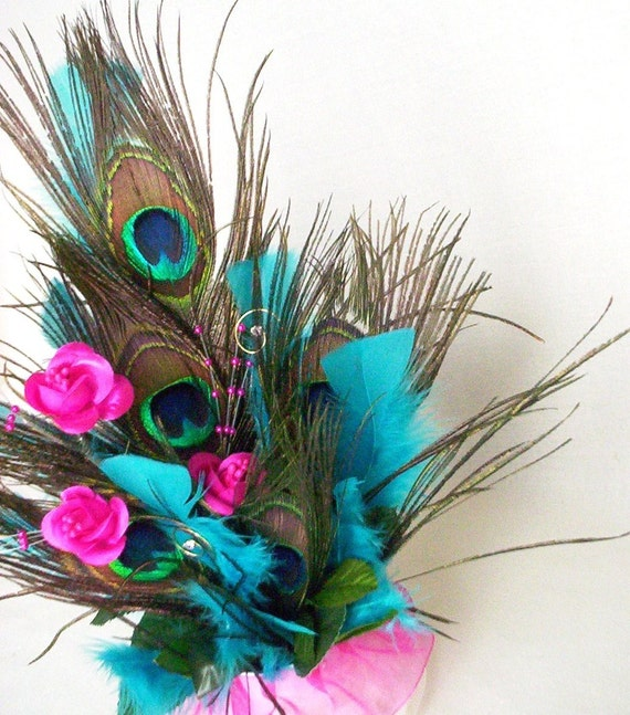 Peacock Feather Wedding Cake: Wedding Cake Topper Peacock Feathers Fuschia