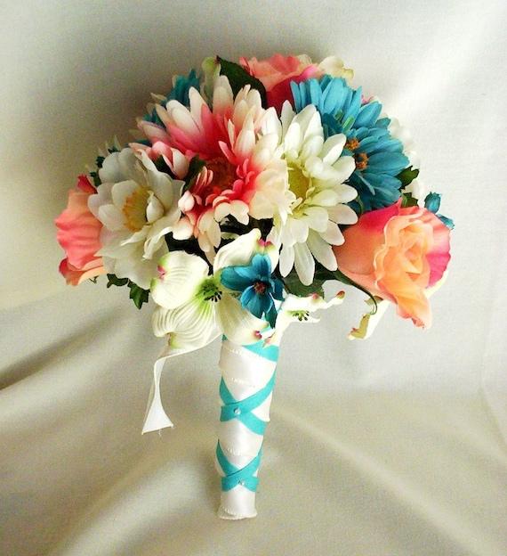 Beach Wedding Flowers: Beach Wedding Flower Package Teal Coral Custom Deposit For