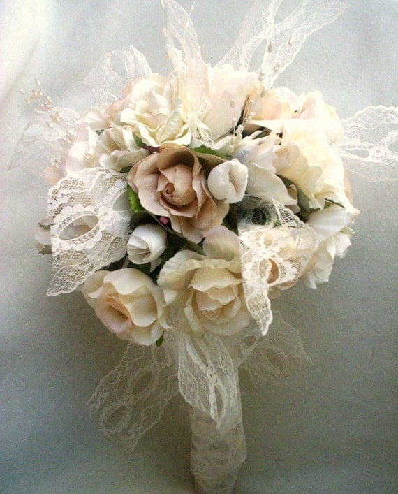 Vintage bouquet shabby chic wedding ivory lace pearls ready for Bouquet chic
