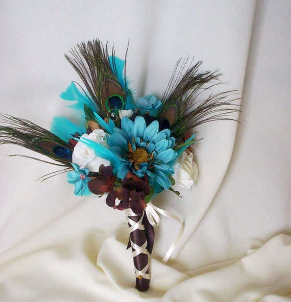 Blue Brown Wedding Bouquets : Items similar to turquoise bridal bouquet peacock