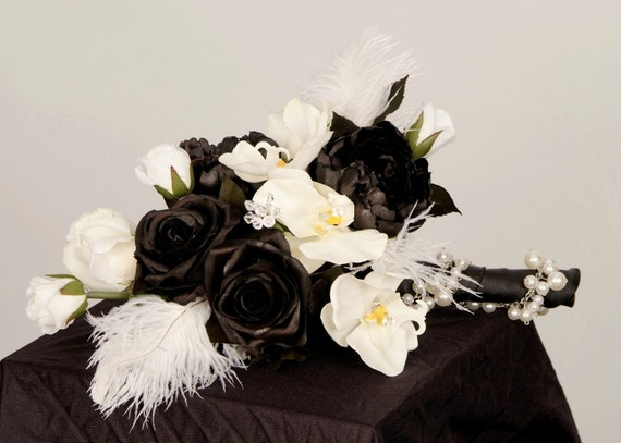 Wedding Flowers Bridal Bouquet Black boutonniere set Ready Ship Couture faux white orchids Feathers Modern accessories destination
