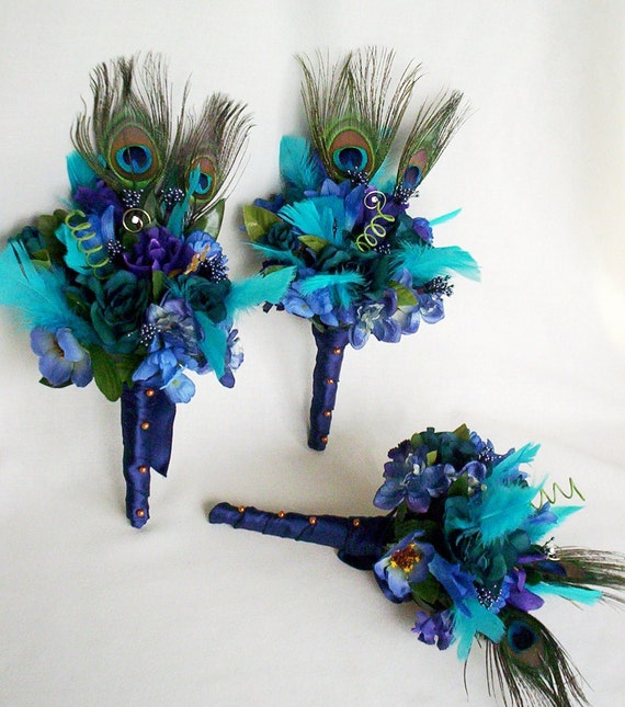 Turquoise Flowers For Wedding: Peacock Turquoise Bridal Bouquets Custom 3rd Payment For