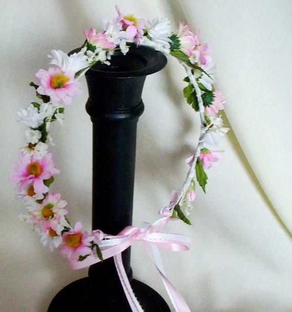 Wedding Flower Crown Halo Pink Hair Flower Crown Bridal Hair