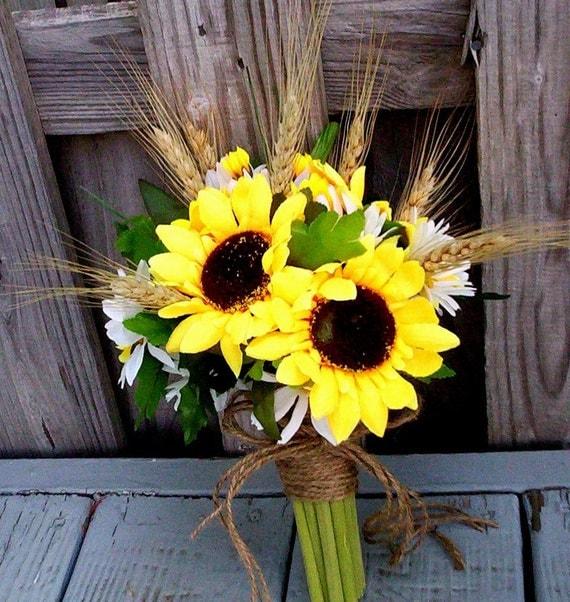 Outdoor November Wedding Flowers: Rustic Sunflower Bridal Bouquet Twine Wrap Custom By