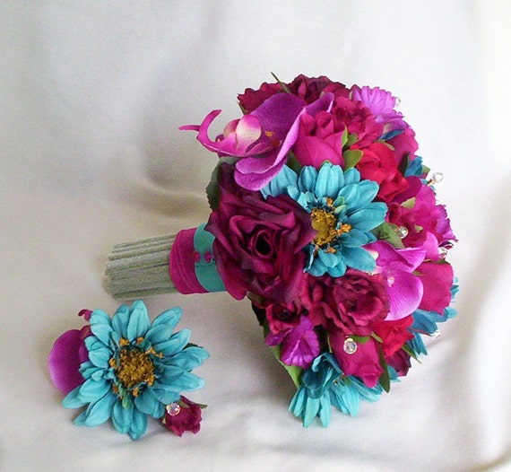 Turquoise Flowers For Wedding: Turquoise Fuschia Bridal Bouquet Fiesta Colors Custom Payment