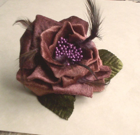 Plum Bridal Hair Comb wedding fascinator purple marsala browns Velvety Flower bridesmaid headpiece hair wreath accessory feathers fall