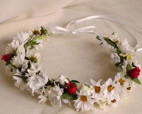 Wedding hair wreath Bridal halo white red floral circlet Silk Daisies Flower Crown Hair accessories headpiece garland destination weddings