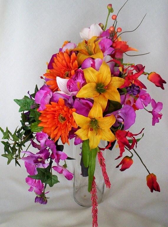 Tropical Orchid Bouquet Cascade fuschia Orchids Orange Yellow Lillies destination weddings