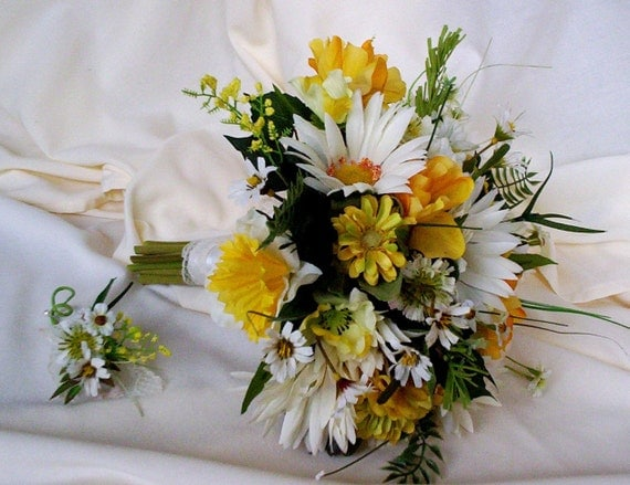 Silk Bridal Bouquet Yellow Wedding Flowers Package Custom Payment For