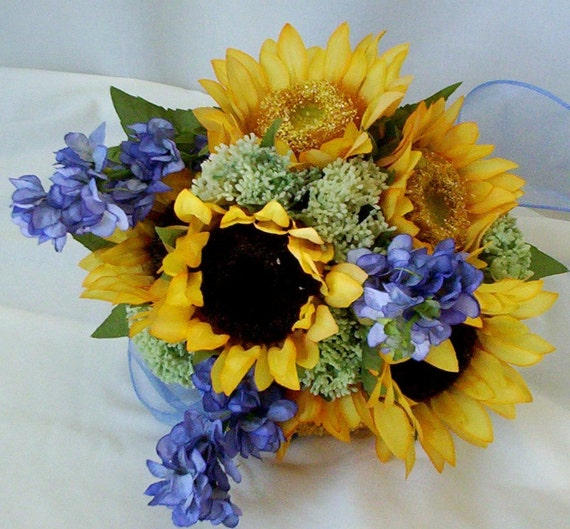 Yellow Wedding Flowers: Sunflower Bridal Bouquet Silk Flowers Country Weddings Blue