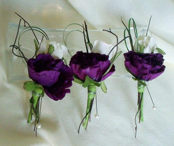 Wedding Boutonnieres Modern Buttonholes Silk Purple Wedding