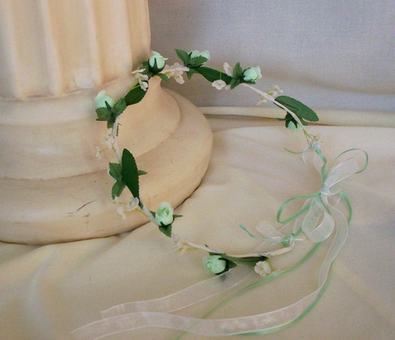 Flower Crown Mint Green Bridal hair flowers -Bianca- Wedding Accessories headwreath flower girl halo floral circlet cottage chic wreath